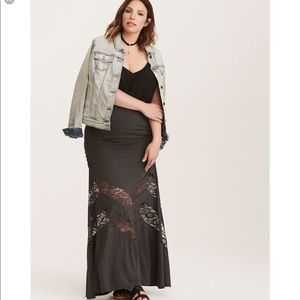 Grey lace inset maxi skirt